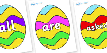 Tricky Words on Easter Eggs (Striped) - Tricky words, DfES Letters and Sounds, Letters and sounds, display, words