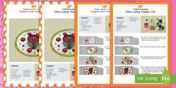 Diva Lamp Holders CD Craft Instructions English/French  -  lamp holders, cd, craft, instructions, diva pots, diya