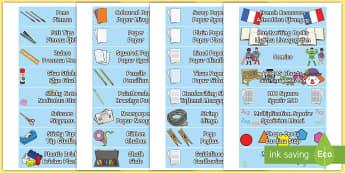 Classroom Equipment Tray Labels English/Welsh  - tray labels, labeli hambwrdd, arddangosfa, offer dosbarth, dwyieithog, bilingual,