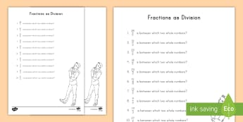 Fractions as Division Activity Sheet - fractions, division, improper fractions, mixed numbers, whole numbers, problem solving, worksheet