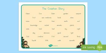 Adam and Eve Creation Story Word Mat - usa, america, Adam, Eve, Eden, serpent, fruit, earth, garden, creation, creation story, word mat, writing aid, mat, paradise, sea creatures, birds, stars, moon, sun, tree, evil, knowledge, animals, sky, night, d