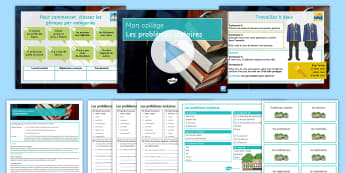 GCSE Problems at School Differentiated Activity Pack French - KS4, issues, students, studying, grammar,French