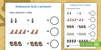 Karta Dodawanie liczb z piratami - pirat, piraci, piratami, papuga, papugi, statek, morze, lato, trupia, czacha, piszczele, skarb, pira