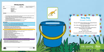EYFS Dinosaur Posting Busy Bag Plan and Resource Pack - Harry and the Bucketful of Dinosaurs, Ian Whybrow, number, dice, counting