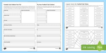 Football Club Emblems and Mottos Fact File Activity Sheets - football clubs, everton, liverpool, Tottenham Hotspurs, emblems, mottos, Latin roots, design your ow