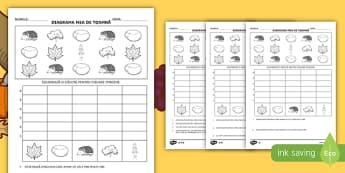 Toamna: Numără și fă diagrama Fișă de activitate  - numerație, ordonare, matematică, activități de toamnă, fișe,Romanian