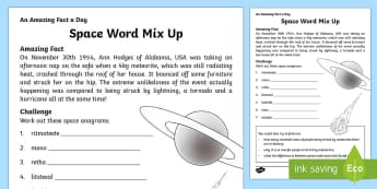 Space Word Mix Up Activity Sheet