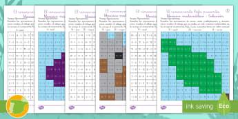 Mosaico matemático: El rinoceronte Rafa - Sumar, restar, multiplicar, dividir, matemáticas, plástica,Spanish