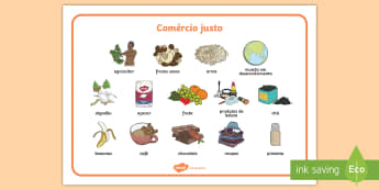 Comércio justo, vocabulário ilustrado - comercio justo, comercio, agricultura, producao, dia mundial do comercio justo, negocios, troca, ben