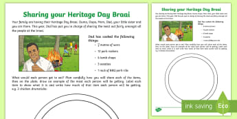Sharing your Heritage Day Braai Activity Sheet - braai, sharing, division, fractions, Heritage day