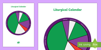 Liturgical Calendar A4 Display Poster - Liturgical colours, Liturgical calendar, religious seasons, advent, easter, ordinary time,Scottish