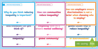 Global Goals Reduced Inequality Second Level Blether Stations - Learning For Sustainability, UNICEF, GG10, Equality, Discrimination,Scottish