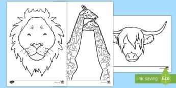 Animal Colouring Pages  - CfE, Highland cow, giraffe, Steve Brown, art, artist, Scotland, Scottish, Ayrshire, colour