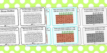 Ten Green Bottles Sequencing (4 per A4) - Ten Green Bottles,10 Green Bottles,  sequencing, nursery rhyme, rhyme, rhyming, nursery rhyme story, nursery rhymes, counting rhymes,counting backwards, subtraction, one less than,