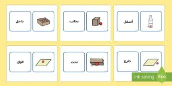 بطاقات مطابقة حول مفردات متعلقة بالموقع Arabic-Arabic - مفردات، تواصل، لغة، فوق، تحت، جانب، داخل، بطاقات، مطاب
