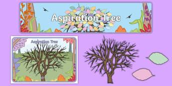 Aspiration Tree Display Pack - hopes, dreams, futures, job, transition, next year,  - hopes, dreams, futures, job, transition, next year,