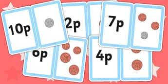 Money Matching Cards 1ps up to 10p New Coins - money games, coin