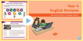Year 4 English Revision Morning Starter Weekly PowerPoint Pack 1 - y4, reading, writing, spag, lesson starter, filler, revision, revise, reading, SPaG. GPS
