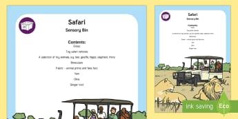 Safari Sensory Bin - africa, jeep, sensory play, lion, kenya, savanna, African Plains, toy car, big five, giraffe, early