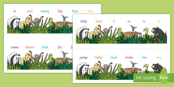 Animal Themed Dolch Pre-Primer Word Strips Desk Mat - Roald Dahl Combined Number Alphabet Strips - key vocab, preprimer, pre prmier, pre primar, desk mat,