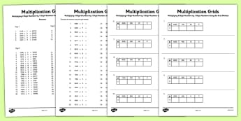 Multiplying 4-Digit Numbers by 1 Digit Numbers Using Grid Method Activity Sheet Pack - Multiplication, grid method, KS2, key, stage, 2, upper, maths, multiply, formal, written, method, worksheet