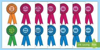 Róiséid Gradaim: Lá Spóirt - Sports day award rosettes, lá spóírt: Róiséid Gradaim, luaíocht, reward, sports day, lá spói