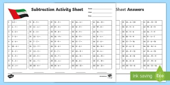 Subtraction Facts Activity Sheet - worksheet, ADEC, MOE, animals, emirates, information, maths, subtraction, mental maths, activity she