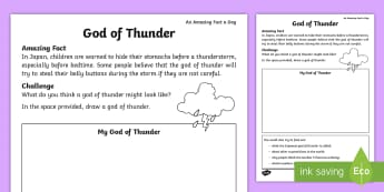 God of Thunder Activity Sheet - Amazing Fact Of The Day, activity sheets, powerpoint, starter, morning activity, March, god of thund