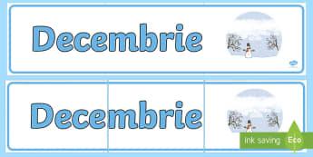 Decembrie Banner - lunile anului, decorul clasei, activități, panoul clasei, activități lunare,Romanian