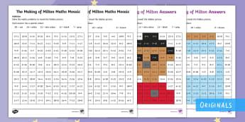 The Making of Milton Addition Maths Mosaic Activity Sheets - twinkl fiction, KS1, Maths, mosaics, addition, worksheet, worksheets, adding, add, sums