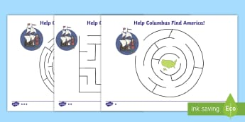 Columbus Day Maze Differentiated Activity Sheets - Columbus Day, Columbus, Maze, Explorers, Ships, America