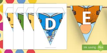 Roald Dahl-Themed Alphabet Display Bunting - Roald Dahl Display Bunting - display bunting, roald dahl, roald dahl bunting, display, bunting, dahl