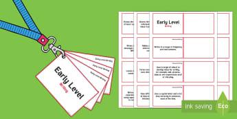 CfE Early Level Writing Lanyard-Sized Benchmarks - Early Level benchmarks, Early level assessment, Early Level outcomes, Early level observations, nurs