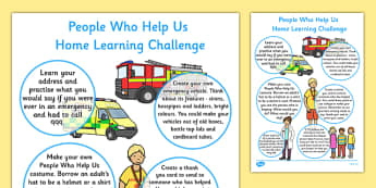 People Who Help Us Home Learning Challenge Sheet Reception FS2 - EYFS planning, Early years activities, homework activities, people who help us