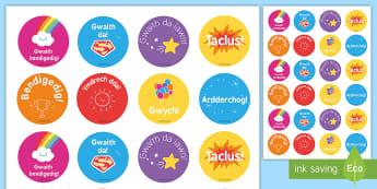Welsh Second Language Reward Stickers - Excellent, Bendigedig, Praise, Reward, Welsh