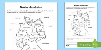 Deutschlandreise Arbeitsblatt - Sommer, Urlaub, Reise, Deutschland, Europa, Bundesländer, Ostsee, Nordsee, Geographie, Kl.1/2, summ