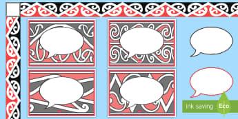Māori speech bubble  Display Pack - Māori Speech Bubble Display Pack - Speech Bubble Signs, Māori display border, Māori display poste