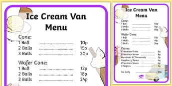 Ice Cream Van Role Play Menu-ice cream van, role play, menu, ice cream van menu, role play menu, menu for role play, ice cream van role play