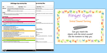 EYFS Initial Sound Sorting Finger Gym Activity Plan and Prompt Card Pack