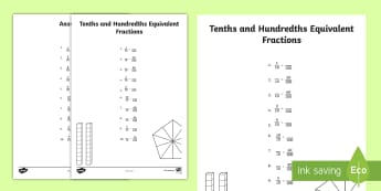 Tenths and Hundredths Equivalent Fractions Activity Sheet - tenths, hundredths, fractions, decimals, equivalent fractions, worksheet