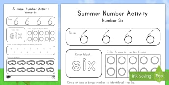 Summer Number Six Activity Sheet - Summer, summer season, first day of summer, summer vacation, summertime, number recognition, number