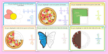 Year 1 Halves And Quarters Playdough Mats - playdough, mats