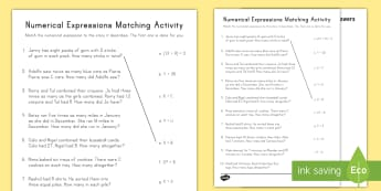 Numerical Expressions Matching Activity Sheet - numerical expressions, algebra, variables, key words, problem solving, worksheet