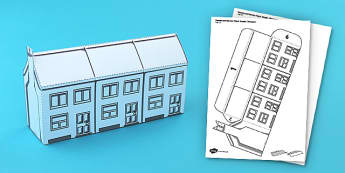 Houses and Homes Terraced Houses Paper Model - houses, terraced, model