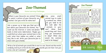 Zoo-Themed Home Learning Challenges Reception FS2 - EYFS, Early Years, home school links, homework, home learning, Zoo, animals.