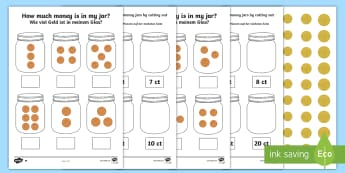 How Much Money Is in My Money Jar Differentiated Activity Sheets English/German - worksheets, euro, euros, cents, EAL, German, English-German,German-translation