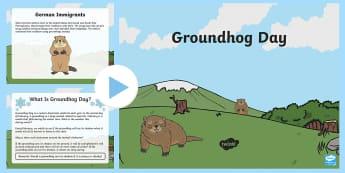 Groundhog Day PowerPoint Grades Kindergarten to 2nd PowerPoint - Groundhog Day, winter, hibernation, facts, Germany
