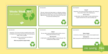 Waste Week 2017 Fact Cards - waste week 2017, waste week, reduce, reuse, recycle, upcycle, waste, materials, recycling, upcycling