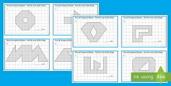 Area of Compound Shapes Challenge Cards - area, measures, maths, challenge cards, square centimetre,Irish