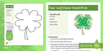 Four Leaf Clover Handprint Activity - NI, St. Patrick\'s Day, St. Patrick, Clover, four leaf clover, leaf, shamrock